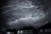 Lightning Storms Digital Art Prints - Newark Storm Print by Darren Peet