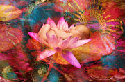 Pink Lotus Posters - Newborn Pink Lotus Dreams Poster by MiMi Milagros Photography