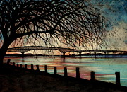 Hudson Valley Paintings - Newburgh Beacon bridge Sunset by Janine Riley