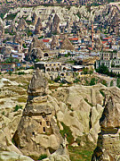 Chimneys Digital Art Framed Prints - Newer Homes Among the Fairy Chimneys in Cappadocia-Turkey Framed Print by Ruth Hager