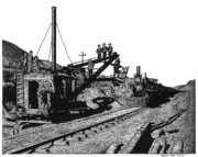 Train Drawings Originals - Newfangled Steam Shovel 1869 by Bruce Kay