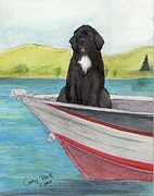 Newfoundland Art Paintings - Newfoundland Dog Boat Cathy Peek Animal Art by Cathy Peek