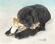 Newfoundland Art Paintings - Newfoundland Dog in Snow Stuffed Animal Cathy Peek Art by Cathy Peek