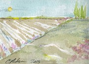 Farm Scenes Drawings Prints - Newly plowed fields Oxnard California Print by Cathy Peterson