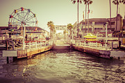 Tone Prints - Newport Beach Balboa Island Ferry Dock Photo Print by Paul Velgos