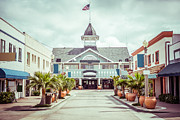 Main Street Photo Prints - Newport Beach Balboa Main Street Vintage Picture Print by Paul Velgos