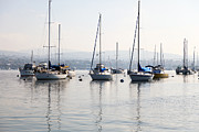 Sailboats Docked Photo Framed Prints - Newport Beach Bay Harbor California Framed Print by Paul Velgos