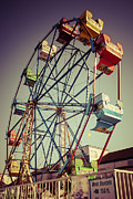 Tint Prints - Newport Beach Ferris Wheel in Balboa Fun Zone Photo Print by Paul Velgos