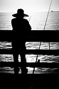 Black Pole Framed Prints - Newport Beach Fisherman Pier Fishing Picture Framed Print by Paul Velgos