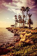 Water Filter Prints - Newport Beach Jetty Vintage Filter Picture Print by Paul Velgos