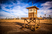 Southern Homes Posters - Newport Beach Lifeguard Tower 10 HDR Photo Poster by Paul Velgos