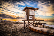 Sand Stand Framed Prints - Newport Beach Lifeguard Tower 20 HDR Photo Framed Print by Paul Velgos