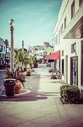 1950s Photo Framed Prints - Newport Beach Main Street Balboa Peninsula Picture Framed Print by Paul Velgos
