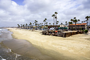 Oceanfront Metal Prints - Newport Beach Oceanfront Businesses with Dory Fleet Metal Print by Paul Velgos