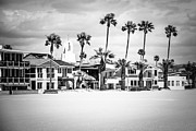 Southern Homes Prints - Newport Beach Oceanfront Homes Black and White Picture Print by Paul Velgos