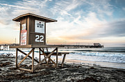 Lifeguard Shack Posters - Newport Beach Pier and Lifeguard Tower 22 Photo Poster by Paul Velgos