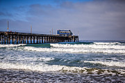 Newport Beach Framed Prints - Newport Beach Pier in Orange County California Framed Print by Paul Velgos