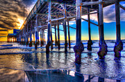 Sunset Seascape Prints - Newport Beach Pier - Low Tide Print by Jim Carrell