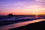 Balboa Peninsula Posters - Newport Beach Pier Sunset in Orange County California Poster by Paul Velgos