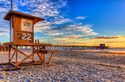 Sunset Photo Prints - Newport Beach Pier - Wintertime  Print by Jim Carrell