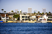 Businesses Photo Framed Prints - Newport Beach Skyline and Waterfront Homes Picture Framed Print by Paul Velgos