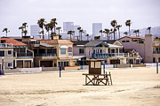 Southern Homes Posters - Newport Beach Skyline and Waterfront Luxury Homes Poster by Paul Velgos