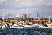 Yachts Prints - Newport Beach Skyline  Print by Paul Velgos