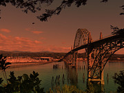 Architecture Mixed Media - Newport Bridge - Beautiful Oregon Coast by Photography Moments - Sandi