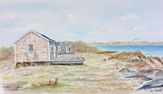 Fishing Shack Paintings - Newport fishing shacks by Michael McGrath