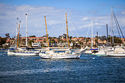 Southern Homes Framed Prints - Newport Harbor Boats in Orange County California Framed Print by Paul Velgos