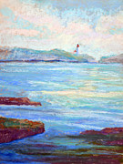 Sea Shore Pastels Prints - Newport Lighthouse Print by Arlene Baller