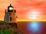 Lighthouse At Sunset Prints - Newports Gem Print by Lourry Legarde