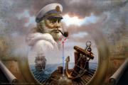 Smoke Painting Originals - NEWS Map Captain 7 or Sea Captain by Yoo Choong Yeul