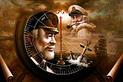 Cap Painting Originals - NEWS TWO Map Captain 3 or TWO Sea Captain by Yoo Choong Yeul
