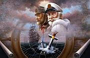 Cap Painting Originals - NEWS TWO Map Captain 4 or TWO Sea Captain by Yoo Choong Yeul