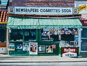 City Scenes Paintings - Newspaper Stand West Village NYC by Anthony Butera