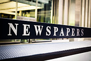 Rack Photo Prints - Newspapers Stand Sign in Chicago Print by Paul Velgos
