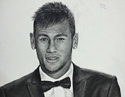 Soccer Drawings Originals - Neymar portrait drawing by Jeries Jubran