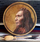 Hoop Mixed Media Acrylic Prints - Nez Perce Drum Acrylic Print by Stu Braks