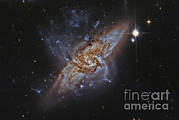 Merging Photo Prints - Ngc 3314, A Pair Of Overlapping Spiral Print by Roberto Colombari