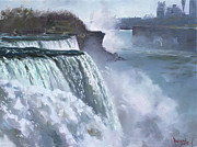 Canada Paintings - Niagara American Falls by Ylli Haruni