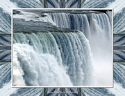 Sofranko Framed Prints - Niagara Falls American side closeup with warp frame Framed Print by Rose Santuci-Sofranko