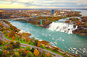 Niagara River Prints - Niagara Falls and River Print by Charline Xia