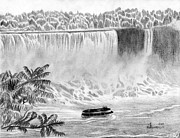 Waterfall Drawings Prints - Niagara Falls and the Maid of the Mist Print by Kayleigh Semeniuk