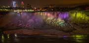 Night Lights Framed Prints - Niagara Falls at Night Framed Print by Ian Stotesbury