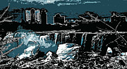 Niagara Falls Frozen At Night Print by Miss Dawn