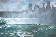 Canada Paintings - Niagara  Falls Mist  by Ylli Haruni
