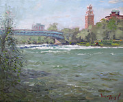 Falls Painting Originals - Niagara Falls River NY by Ylli Haruni