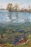 Waterscape Painting Posters - Niagara River Spring 2013 Poster by Ylli Haruni