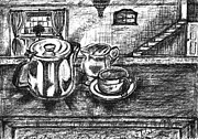 Teapot Drawings - Nice cup of tea by Teresa White